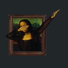 Dabbing Mona Lisa Painting La Gioconda vector design new