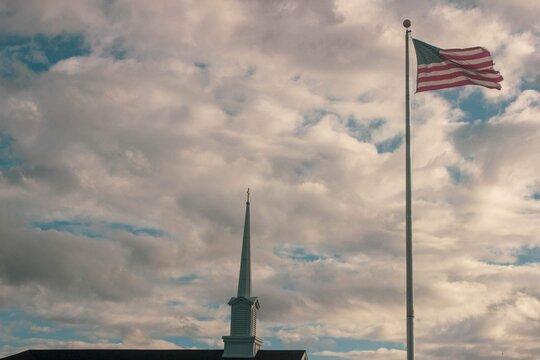 Church Steeple and American Flag