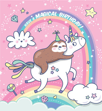 Happy birthday card with a sloth and a unicorn