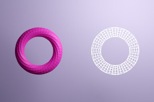 3d illustration of a pink hoop, consisting of a large number of polygons and next to a transparent form of white lines. Futuristic origami, abstract modeling.