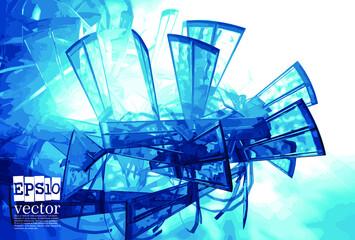 Abstract technology concept background ready for presentation, vector 3D illustration Fotoväggar