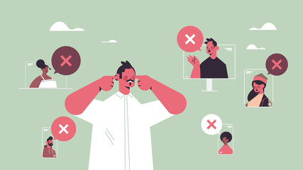 man closing ears suffering from noise keep quiet silent concept chat bubble with cross sign quiet zone horizontal portrait vector illustration