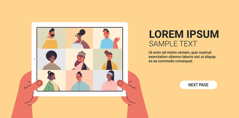 human hands using tablet pc chatting with mix race friends during video call people having virtual live conference communication self isolation concept horizontal copy space vector illustration