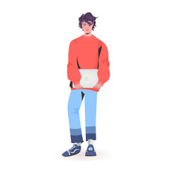 Wall Mural - man holding laptop guy model in trendy clothes male cartoon character standing pose full length isolated vector illustration