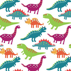 Colorful dinosaurs seamless pattern. Vector pattern