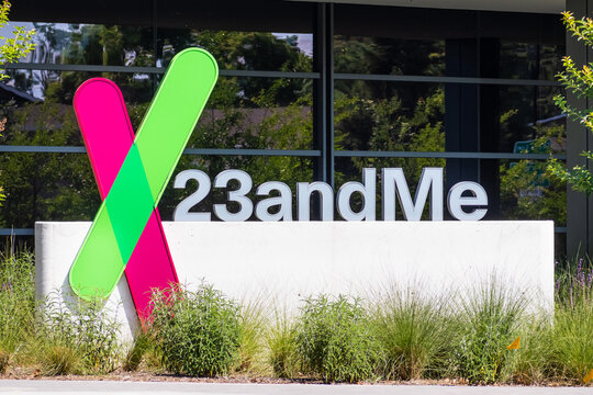 June 19, 2020 Sunnyvale / CA / USA - The 23andme logo at their new headquarters in Silicon Valley; Based on a saliva sample, 23andMe provides reports about the customer's health, traits and ancestry