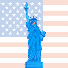 Statue of Liberty with antiviral mask on background with American flag, United States, vector illustration