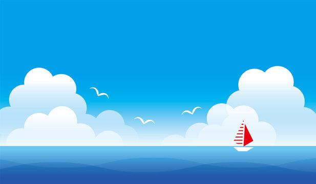 真夏の青空と海の風景のイラスト