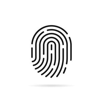 stroke fingerprint icon with shadow
