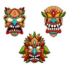 collection of tiki logo vector illustration