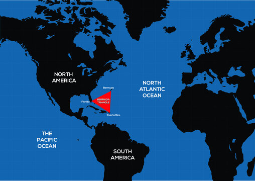 Bermuda triangle vector map, triangle marked in red