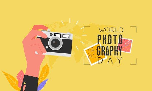 Flat design world photography day