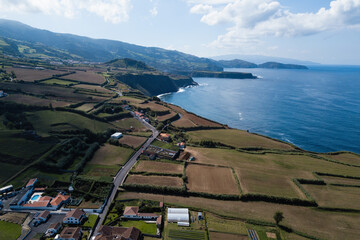 Aerial landscape in Maia on San Miguel island, Azores, Portugal.