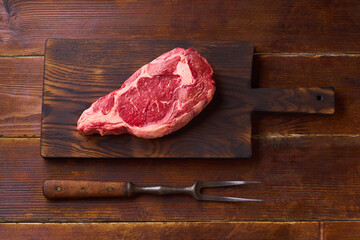 Top view Black Angus prime beef rib eye steak