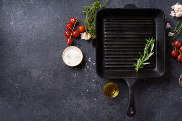 Flat lay top view black cast iron skillet