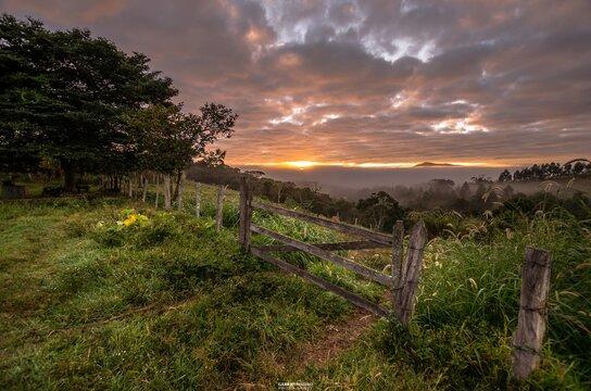 Landscape shot of a field during sunset