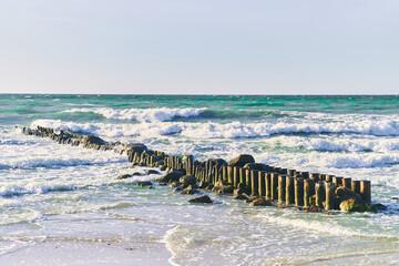 Breakwater on the Baltic Sea. Zelenogradsk city, Kaliningrad region. High-quality photo
