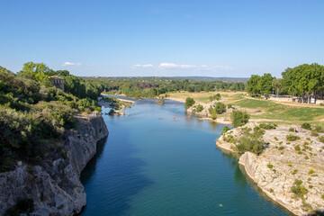 Printed kitchen splashbacks Air photo Vue depuis le Pont du Gard sur la rivière du Gardon
