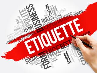 Etiquette word cloud collage, concept background