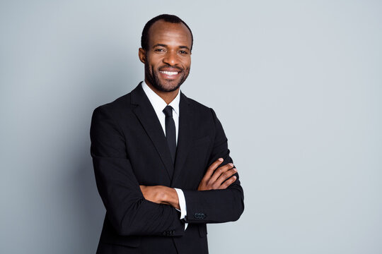 Portrait of smart afro american man leader investor cross hands ready decide solution wear jacket isolated over gray color background