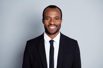Portrait of positive intelligent afro american economist lawyer man look good mood ready decide...