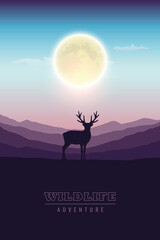 wildlife adventure elk in the wilderness at night by full moon vector illustration EPS10