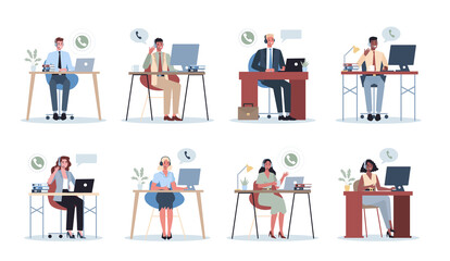 Business people with headphone. Call center office concept. Female