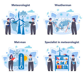 Meteorologist concept set. Weather forecaster studying and researching