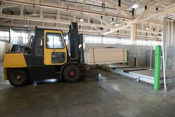 forklift load panels on production line