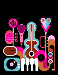 Canvas Prints Abstract Art Flat style colored design isolated on a black background Music Instruments vector illustration. Art composition of guitar, saxophone, piano keyboard, trumpet, microphone and gramophone.