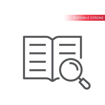 Open book and magnifying glass or magnifier vector icon. Manual, instruction outline icon, editable stroke.