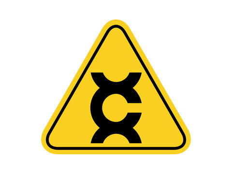 isolated caution carcinogen , common hazards symbols on yellow round triangle board warning sign for icon, label, logo or package industry etc. flat vector design.