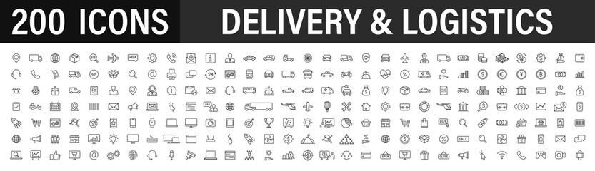 Set of 200 Delivery and logistics web icons in line style. Courier, shipping, express delivery, tracking order, support, business. Vector illustration.