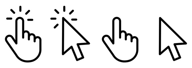 Hand clicking icon collection.Pointer click icon. Hand icon design.Set of Hand Cursor icons click and Cursor icons click. Click cursor icon.
