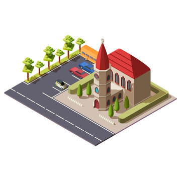 Modern isometric christian catholic church. Religious building with cross and a chapel along highway. The architecture of cathedral or temple near road with parking for cars and buses of parishioners.