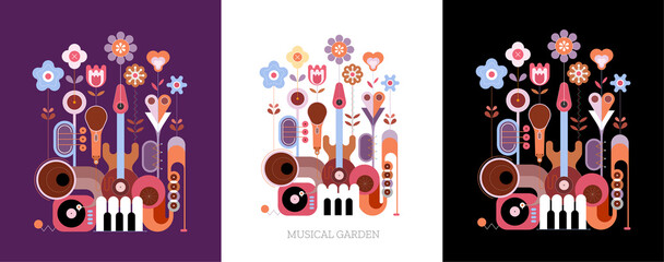 Photo Blinds Abstract Art 3 options of colored design isolated on a violet / on a white / on a black background Flowers and Musical Instruments vector illustration. Blossoming flowers grow from music instruments.