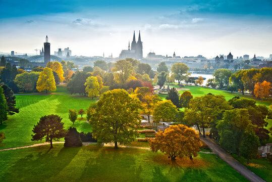 Blick im Herbst über den Rheinpark auf den Kölner  Dom