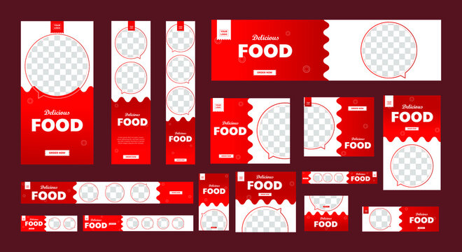 set of food promotion banners of standard size with a place for photos. business ad banner. Vertical, horizontal and square template.