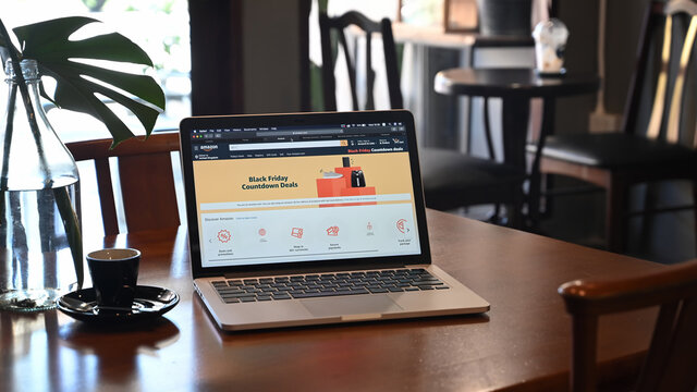 CHIANGMAI, THAILAND - NOV 27 2019:  Amazon shopping website on Apple MacBook Pro with Safari Internet browser, it is an American electronic commerce and cloud computing company.