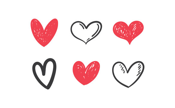 Heart doodles set. Collection of hand drawn hearts for valentine's day design or wedding card invitation.