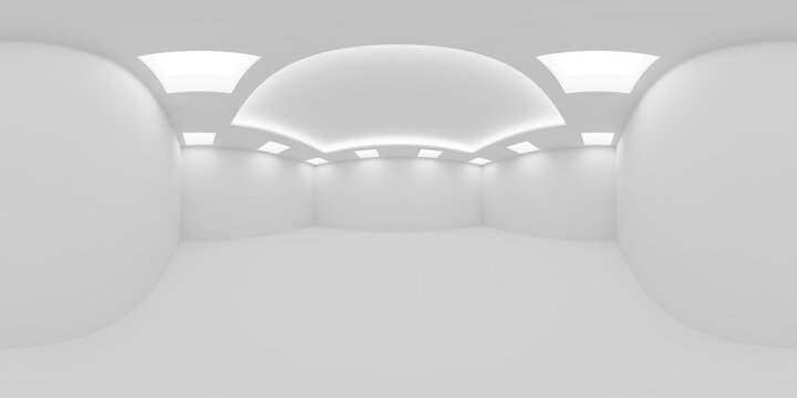 White empty room with square embedded ceiling lamps HDRI map