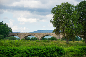 Railway viaduct crossing the neisse river near Zittau