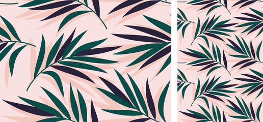 Foto op Plexiglas Kunstmatig Vector seamless tropical pattern with palm leaves