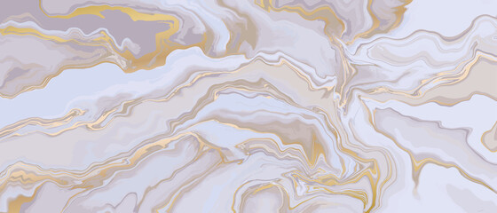 Fotobehang - Marble and gold abstract background vector. Marbling wallpaper design with natural luxury style swirls of marble and gold powder..