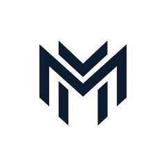 simple initial letter MM logo