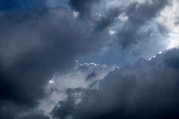 Summer Cumulus clouds backlit forming a silver lining on the edge of the formation, hiding the blue sky.