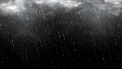 Obraz Falling raindrops isolated on black background. Falling water drops texture. Realistic rain with clouds and fog. Vector illustration. - fototapety do salonu