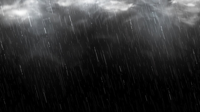 Falling raindrops isolated on black background. Falling water drops texture. Realistic rain with clouds and fog. Vector illustration.