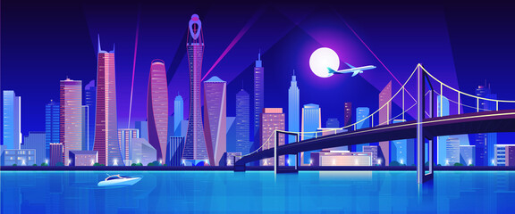 Fotorolgordijn Violet City bridge over water bay at night vector illustration. Cartoon flat modern bridge to downtown futuristic neon metropolis, downtown cityscape waterfront buildings, tower skyscrapers landscape view