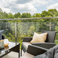 Stylish balcony and forest view